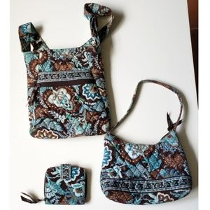 Set of Vera Bradley Bags and Wallet Brown And Blue